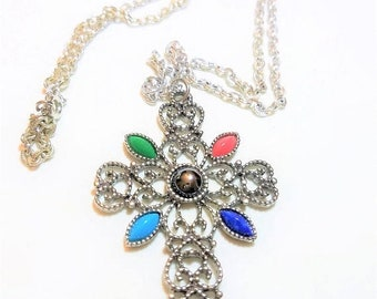30% Off Sale Cross Pendant Silver Tone Avon Vintage Large with Color Accents