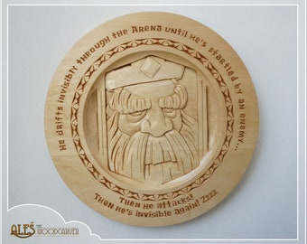 Royal Ghost from Clash Royale - relief carving on a basswood plate, hand carved wall hanging decoration