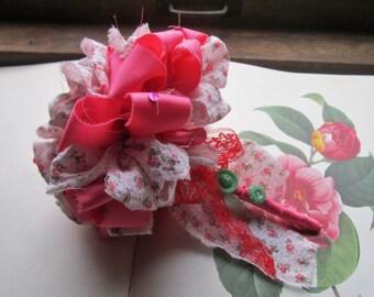 Vintage Fabric Flower Bouquet, Wedding Bouquet /  Bridesmaid Bouquet, Flower Girl