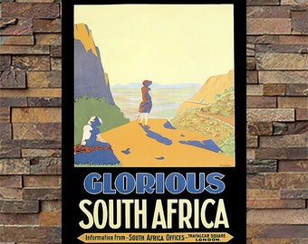 Glorious South Africa Vintage Travel Ad, Travel Print, Vintage Art Giclee Art Print, fine Art Reproduction