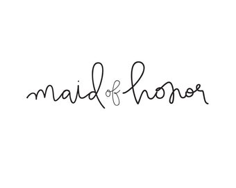 maid of honor temporary tattoo bachelorette party tattoo wedding tattoos handlettered script typography tattoo bridesmaid gift fake tattoos