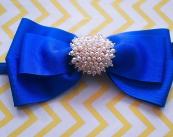 Royal Blue Grosgrain Ribbon Bow with pearly rhinestone - Baby / Toddler / Girls / Kids Headband / Hairband / Hair bow / Barette / Hairclip