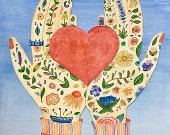 Loving Hands - watercolor greeting card - Valentines Day, Thank You, Love You