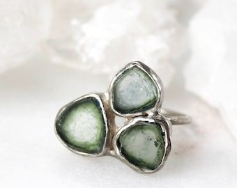 tourmaline ring, tourmaline slice, silver ring, recycled silver, organic jewelry, watermelon tourmaline, hand carved