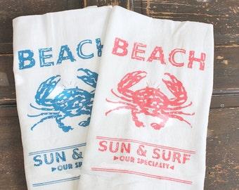1 Beach Towel,Kitchen Towels -Flour Sack Towels -Tea Towels-seaside -coastal-  Dish Towels - by Modern Vintage Market