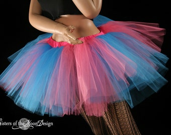 Adult tulle tutu skirt Bubble Gum  turquoise hot pink Monster extra puffy Fairy dance club wear race - You Choose Size - Sisters of the Moon