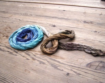Coast fashion hand dyed crinkle long ombre silk scarf blue brown gift for him