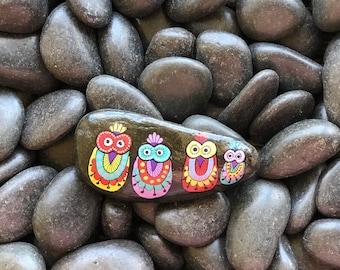 4 Owls Handpainted Rock