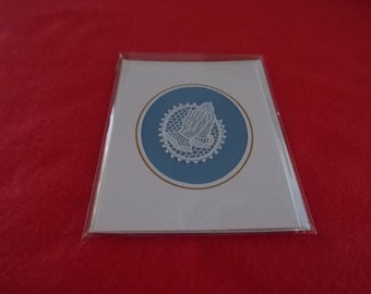 A beautiful card of Belgian Lace Praying Hands on blue