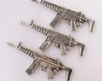 Silver Charms Gun Rifle Weapon x4