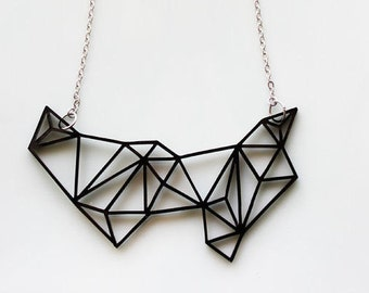 Geometric Necklace Black - Minimalist Necklace - Prism Necklace - Bib Necklace - Gifts for Her - Birthday Gift - White - Geometric Jewelry