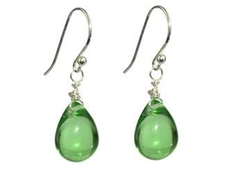 Green drop earrings - Czech glass drop dangle earrings in sterling silver or gold filled