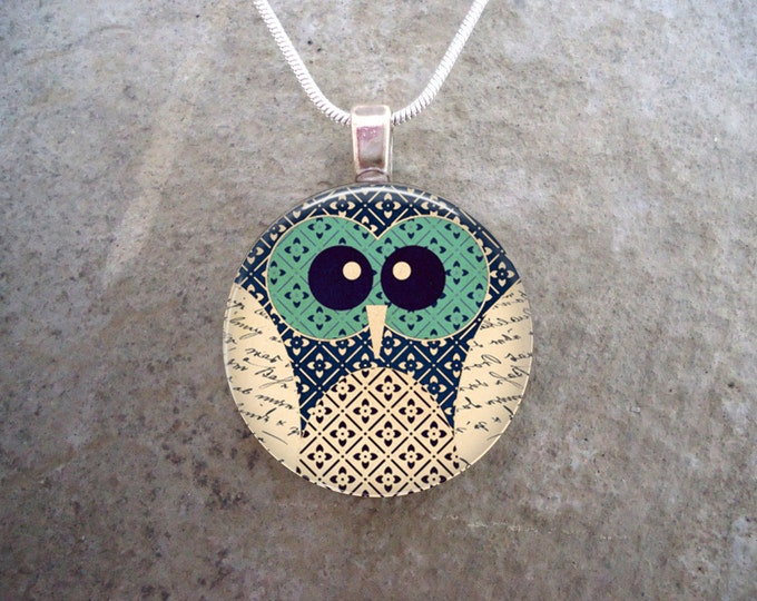Owl Jewelry - Glass Pendant Necklace - Owl 12