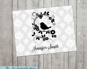 Bird Note cards  personalized folded notecards Bird Stationery