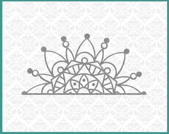 CLN0208 Half Mandala Boho Car Decal Circle Henna Design  SVG DXF Ai Eps PNG Vector Instant Download Commercial Cut File Cricut Silhouette