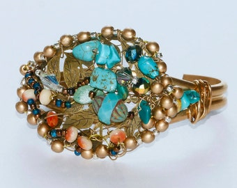 Turquoise Beaded Leaf Bracelet, Antiqued Gold & Bronze Cuff Bracelet, Colorful Glass Bead Stitched Bracelet, Wearable Art Cuff, Jewelry Gift