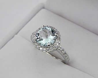 AAA Round Aquamarine   1.65 Carats   set in 14K white gold Halo engagement ring with .25 carats of diamonds 3065 MMMM
