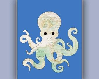 Carte nautique Print Marine décoration murale, art de la carte nautique, carte de Golf du Mexique antique décor côtier, Beach Cottage