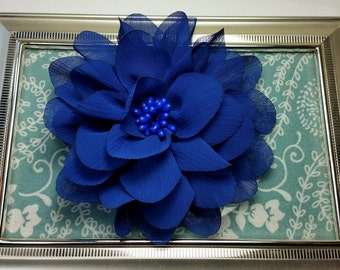 "4"" Royal Blue Chiffon Flower with Beaded Center- Hair Flower"