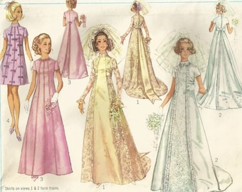 Vintage 60s Simplicity 8091 Misses Empire Look Wedding and Bridesmaids Dress Sewing Pattern Size 14 Bust 36