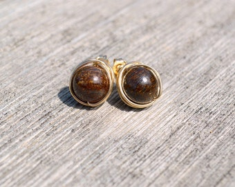 Bronzite and gold wire wrapped stud earrings, bronzite jewelry, bronzite earrings, gold post earrings