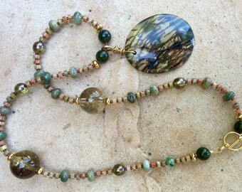 ON THE BAYOU Necklace (Picasso Jasper, Autumn Jasper, Jade, Smoky Quartz, Chrysoprase, Glass)