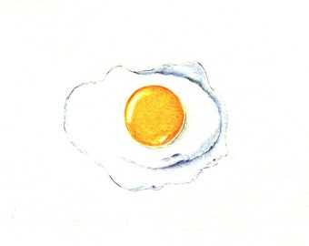 "Fried Egg art print of an original drawing available 5x7"" or 8x10"""