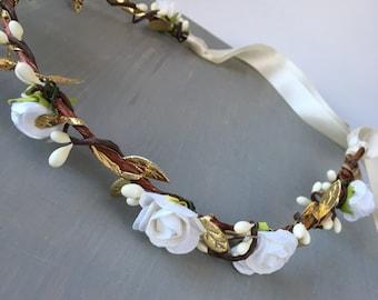 White and gold flower crown - rustic gold flower crown - bridal headpiece - wedding flower crown - simple flower crown - gold rose crown