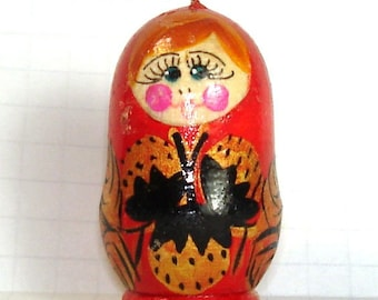 Large Hand Painted Matryoshka Russian Doll Pendant- Red