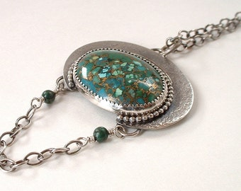 Turquoise Cabochon Infused with Bronze and Sterling Silver Pendant Necklace