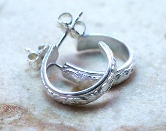 Sterling Silver Mini Hoop Stud Earrings / Floral Pattern Stud Hoop Earrings / Small Hoop Studs / Sterling Silver Stud Earrings
