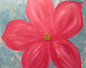 Pink Flower - Original Mixed Media Painting With Clay And Gold Foil -  24x24x1.5