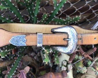 """Vintage Sterling Silver Plate Buckle and Leather Belt 26"""" Size 1"""
