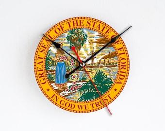 Florida State Wall Clock Orange Blue Wall Decor Home Decor USA States Rare Gift Handmade Clock Gift for Hostess Houseware