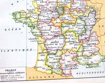 France Map - Antique Map 1908 - 12 x 8 - French Larousse Book Page