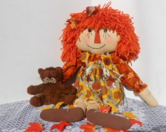 Fall, Autumn, Raggedy Doll, Seasonal Annie, Kitten
