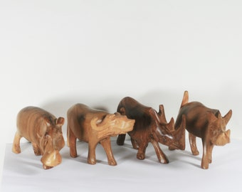 Vintage Wood African Animals , Four Hand Carved Figurines, Hippo, Warthog, Rhino, Water Buffalo
