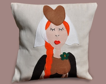 Kids pillow, medieval pillow, lady cushion cover, medieval lady, kids room, decorative pillow, lady in waiting, child bedroom, decor sofa