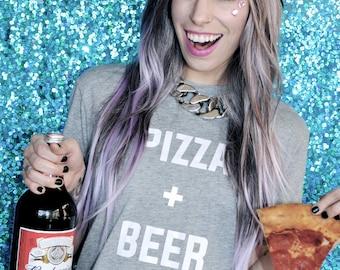 PIZZA + BEER TEE - Pizza Shirt - Beer Shirt