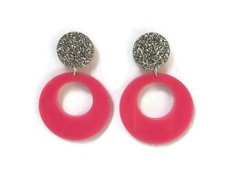 Pink Dangle Hoop Earrings - Pink and Silver Glitter - Retro, Mod, Vintage Style  - Laser Cut Acrylic - Women's, Rockabilly, Pinup