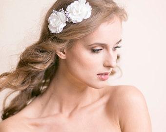 Wedding Hair Pins Gardenia Flower - Bridal Hair Pins Set of 2 - Flower Hair Accessories - Ivory / Soft White / White - Floral Hair Clip