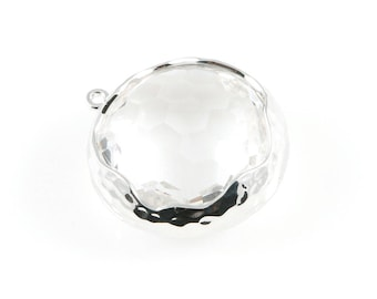 2pcs Clear Faceted Glass Charms in Rhodium, Framed Round Pendant / Birthstone / April / Crystal / 20mm / GCLRH-011-P