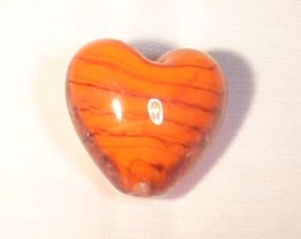 Heart lampwork glass orange beads 20x20mm