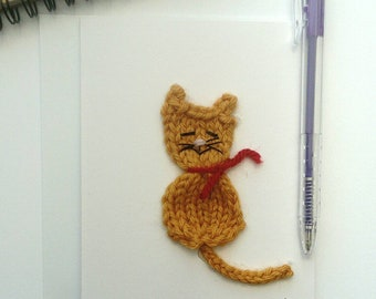 Cat card, knitted cat card, unique birthday card, gift for cat lover,  eco friendly gift, cute  cat present, cat birthday card, card for her