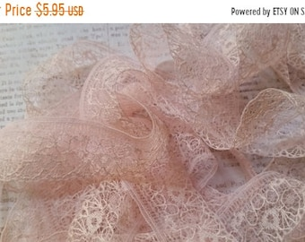 ON SALE Gorgeous Delicate Antique Lace Trim French Cream Pastel Pink