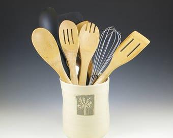 Ceramic Kitchen Utensil Holder, Pottery Utensil Holder Crock, Kitchen Decor, Wedding Bridal Shower Gift, Kitchen Tool Holder, Spoon Jar