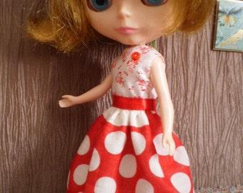 Vintage deco hanky dress for Blythe, Pullip - red