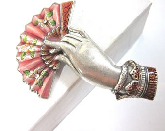 Vintage Catherine Popesco Signed Pink, Orange And Green Enamel And Sterling Silver Fan/Hand Brooch-Made In France
