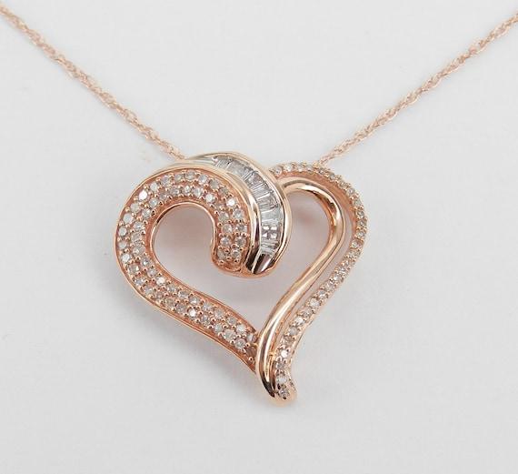 "Rose Gold Diamond Heart Pendant Necklace 18"" Chain Graduation Gift Present"