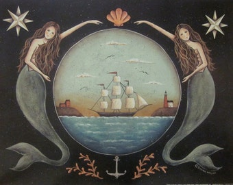 Sirens of the Sea. Nautical Stars Mermaid Ocean Schooner Folk Art Print by Donna Atkins. Primitive beach house cottage decor. 11x14 or 16x20